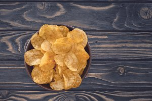 top view of crispy unhealthy potato