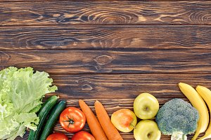top view of fresh healthy fruits and
