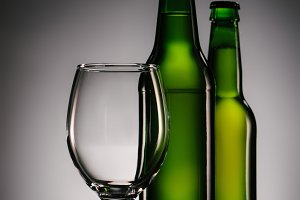 close up view of bottles of beer and
