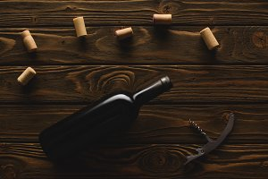 top view of bottle of red wine with