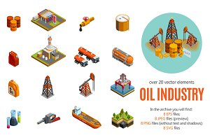 Oil Industry Isometric Set