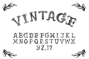Hand drawn vintage vector alphabet