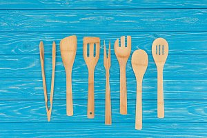 top view of wooden kitchen utensils