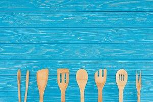 top view of wooden kitchen utensils