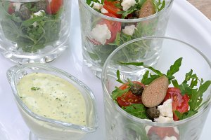 Arugula salad in a glass