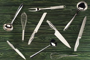 top view of metallic kitchen utensil