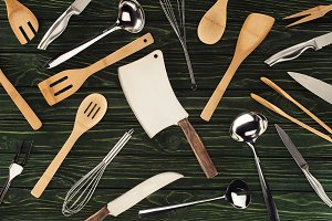 top view of kitchen utensils on wood