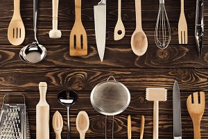 top view of different kitchen utensi