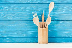 closeup shot of kitchen utensils in