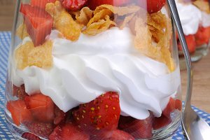 Parfait with strawberries