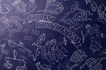 Zodiac Constellations set & Pattern