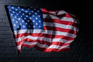 dynamic waving usa flag in front of