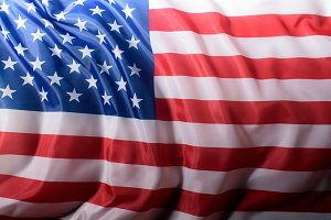 close-up shot of waving united state