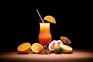 tasty alcohol drink with orange juic