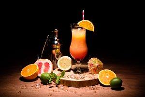 alcohol drink with orange juice on w