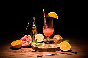 alcohol drink on wooden board with f
