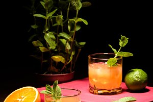 alcohol drinks with mint and fruits
