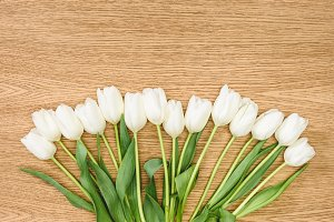top view of bouquet of white tulips