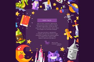 Magic Fairy Tales Flat Design Flyer