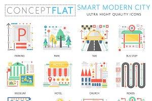 Smart modern city concept icons set