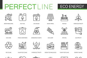 Eco green energy line icons set
