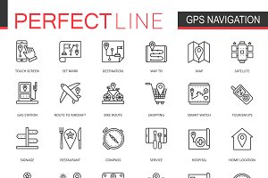 Navigation location line icons set