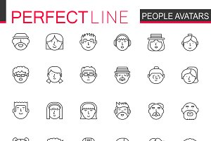 Avatar people line icons set.