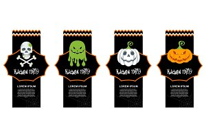 Set of Halloween Paper Cut Tags