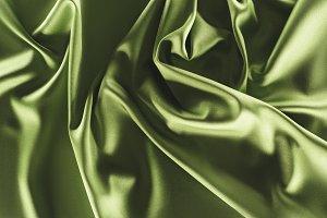 close up view of elegant green silk