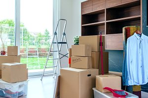 Living room with moving boxes