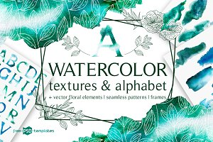 Watercolor Textures and Alphabet