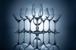 different empty wine glasses with re