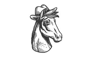 Horse in cowboy hat engraving vector
