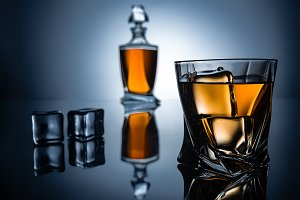 selective focus of glass with cognac