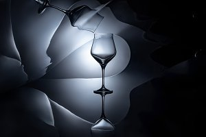 empty wine glass with geometric refl