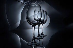 row on empty luxury wine glasses, da