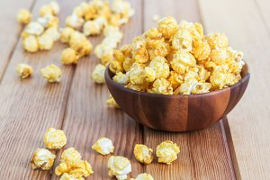 Bowl with popcorn.