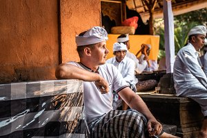 European man in traditional balinese