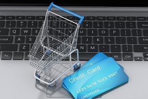 3d Laptop with Shopping cart and cre