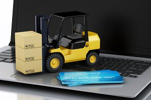 Laptop with Forklift truck. Deliveri