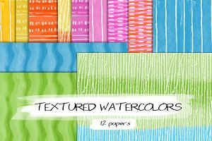 12 Textured Watercolor Backgrounds