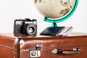 film camera with flight tickets and