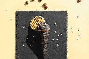 top view of chocolate black ice crea
