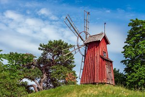 Old red windmill.