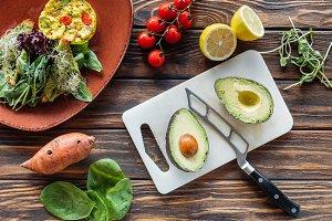 flat lay with vegetarian salad, cut