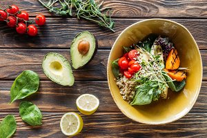 flat lay with vegetarian salad with