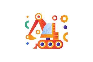 Excavator, heavy industrial