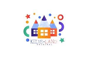 Kids land logo original, colorful