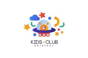 Kids club logo original, colorful