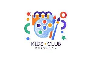 Kids club logo, colorful creative